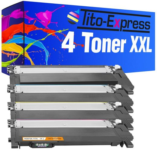 Tito-Express PlatinumSerie Tonerpatrone »4er Set Toner mit Chip ersetzt HP W2070A W2071A W2072A W2073A 117A 117 A«