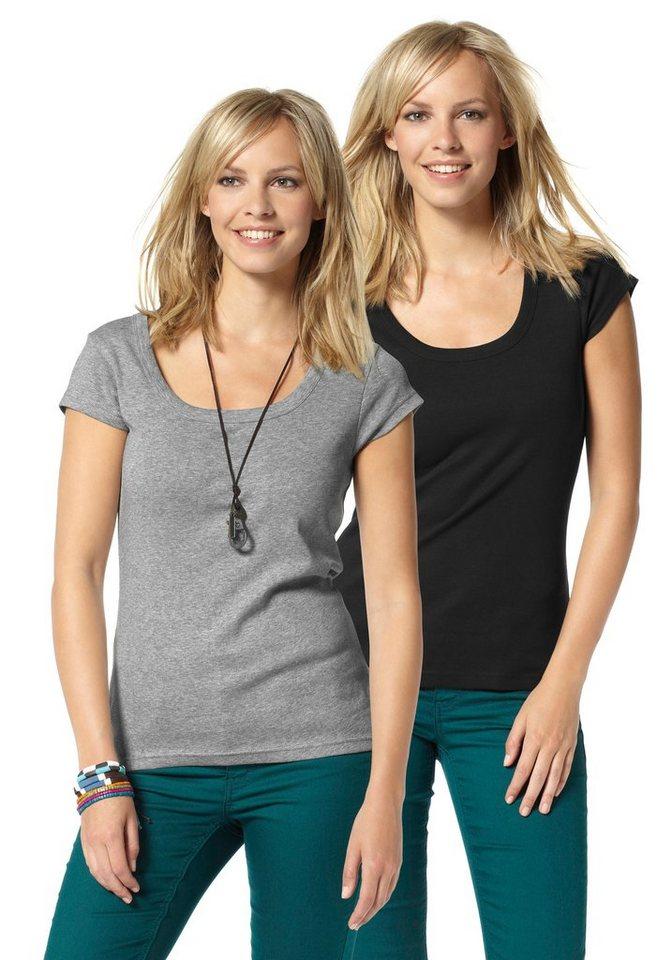 Flashlights T-Shirt (Packung, 2 tlg.) in grau-meliert+schwarz