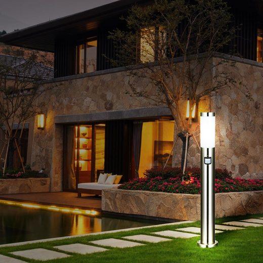 etc-shop LED Außen-Stehlampe, Stand Leuchte Bewegungsmelder Außen Park See Lampe Edelstahl im Set inklusive LED Leuchtmittel