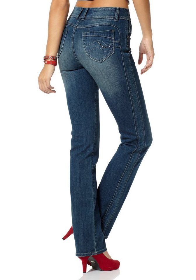 Arizona Bootcut-Jeans »Shaping« Mid Waist in blue-used