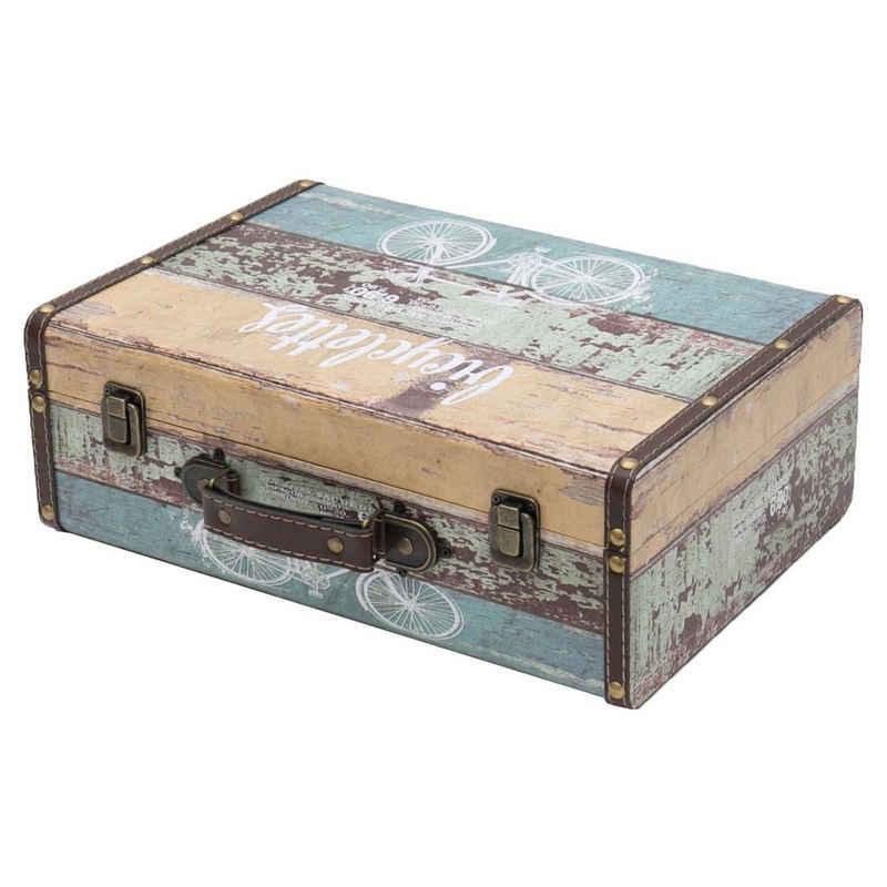 HMF Aufbewahrungsbox »Vintage Koffer«, aus Holz, Deko Fahrrad, 38 x 26 x 13 cm