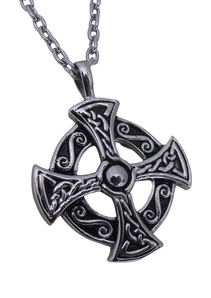 firetti Halsschmuck: Halskette »keltisches Kreuz« in Ankerkettengliederung in silberfarben