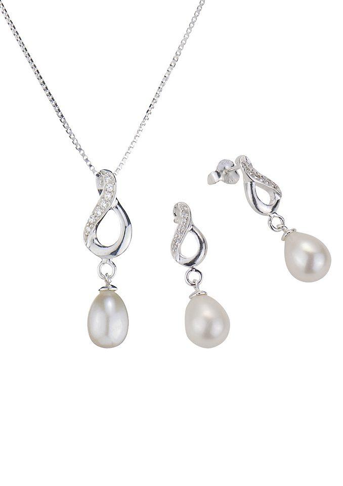 firetti Schmuckset: Halskette und Ohrstecker mit Perle und funkelnden Kristallsteinen (Set 4tlg.)
