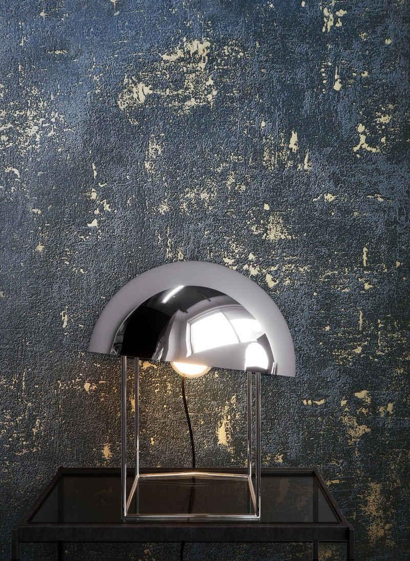 Newroom Vliestapete, Schwarz Tapete Uni Leicht Glänzend - Beton Gold Betontapete Betonoptik Putzoptik Modern Industrial für Wohnzimmer Schlafzimmer Küche