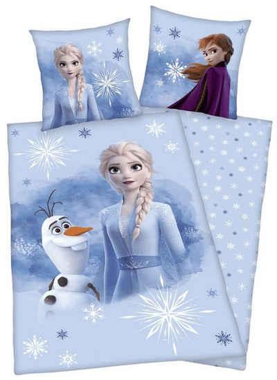 """Kinderbettwäsche »Disney´s Die Eiskönigin """"Glow in the dark"""" Bettwäsche-Set von Herding, 135x200 & 80x80 cm, Leuchtet im Dunkeln«, Disney Frozen, 100% Baumwolle"""