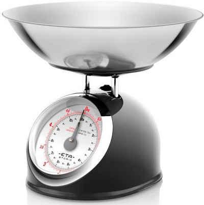 eta Küchenwaage »STORIO schwarz ETA577790020 Retro«, analog, Ganzmetall-Design mit einer Edelstahlschale