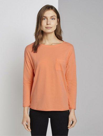 TOM TAILOR T-Shirt »Langarmshirt mit Brusttasche«