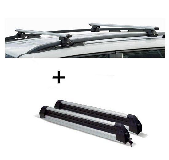 VDP Fahrradträger, Relingträger CRV135 + Skiträger / Snowboardträger / Skihalter Silve Ice ausziehbar) kompatibel mit Skoda Roomster Scout ab 09