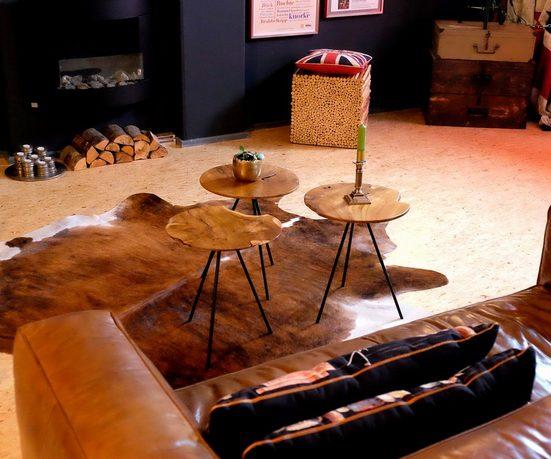 Brillibrum Beistelltisch »Design Teakholz Beistelltisch Dreibeintisch Tischplatte Aus Teak Blumenhocker Couchtisch Massiv Dunkel Kaffeetisch«, Tischplatte aus Teakholz, Tischbeine aus Metall