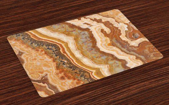 Tischdecke, »Waschbare Stoff Esszimmer Küche Tischdekorations Digitaldruck«, Abakuhaus, (4-teilig, 4 Teilig-St., Set aus 4x), Marmor Aquarell Mineral Form