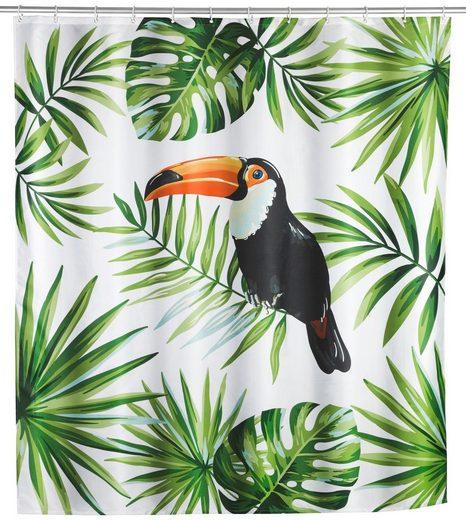 WENKO Duschvorhang »Tucan« Breite 180 cm, Höhe 200 cm, Textil (Polyester)