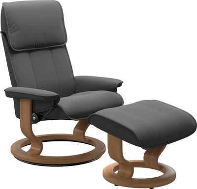 Stressless® Relaxsessel »Admiral« (Set, Relaxsessel mit Hocker), mit Hocker, mit Classic Base, Größe M & L, Gestell Eiche
