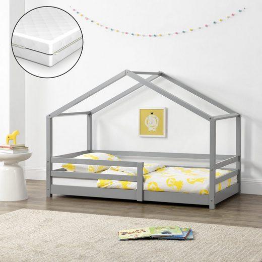 en.casa Kinderbett, »Knätten« Hausbett Kinder mit Kaltschaummatratze und Rausfallschutz aus Kiefernholz in verschiedenen Größen