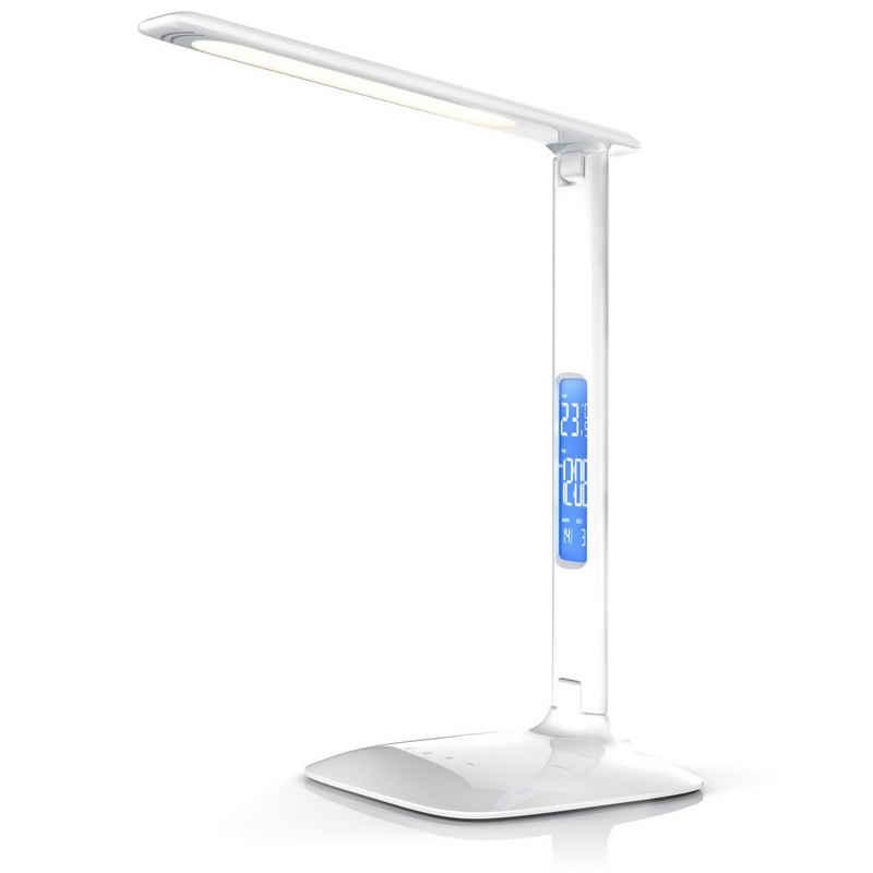 Brandson Schreibtischlampe, dimmbare LED Schreibtischlampe mit 450 Lumen Temperatur-, Alarm- & Kalenderfunktion