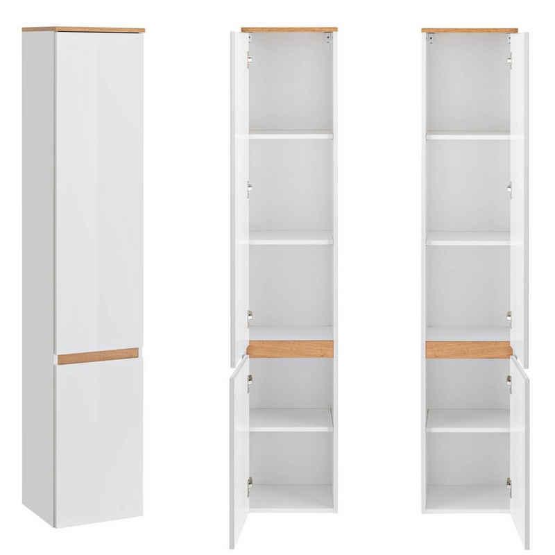 Lomadox Hochschrank »CAMPOS-56« Badezimmer mit 2 Türen, Hochglanz weiß mit Wotaneiche, B x H x T ca. 35 x 176 x 30 cm