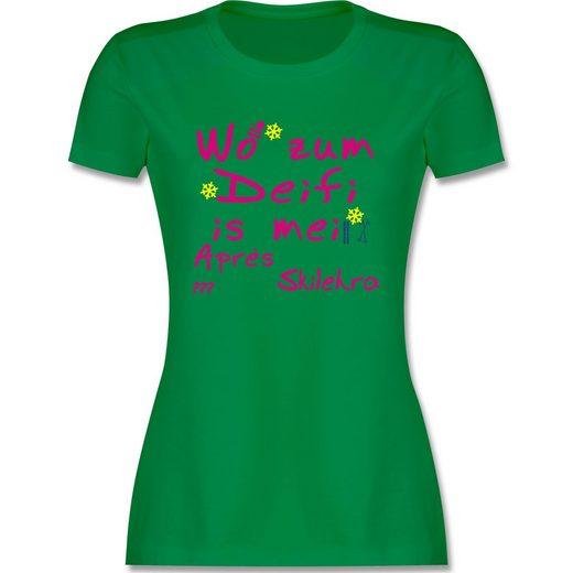 Shirtracer T-Shirt »Wo zum Deifi is mei Apres Skilehra - Damen Premium T-Shirt«