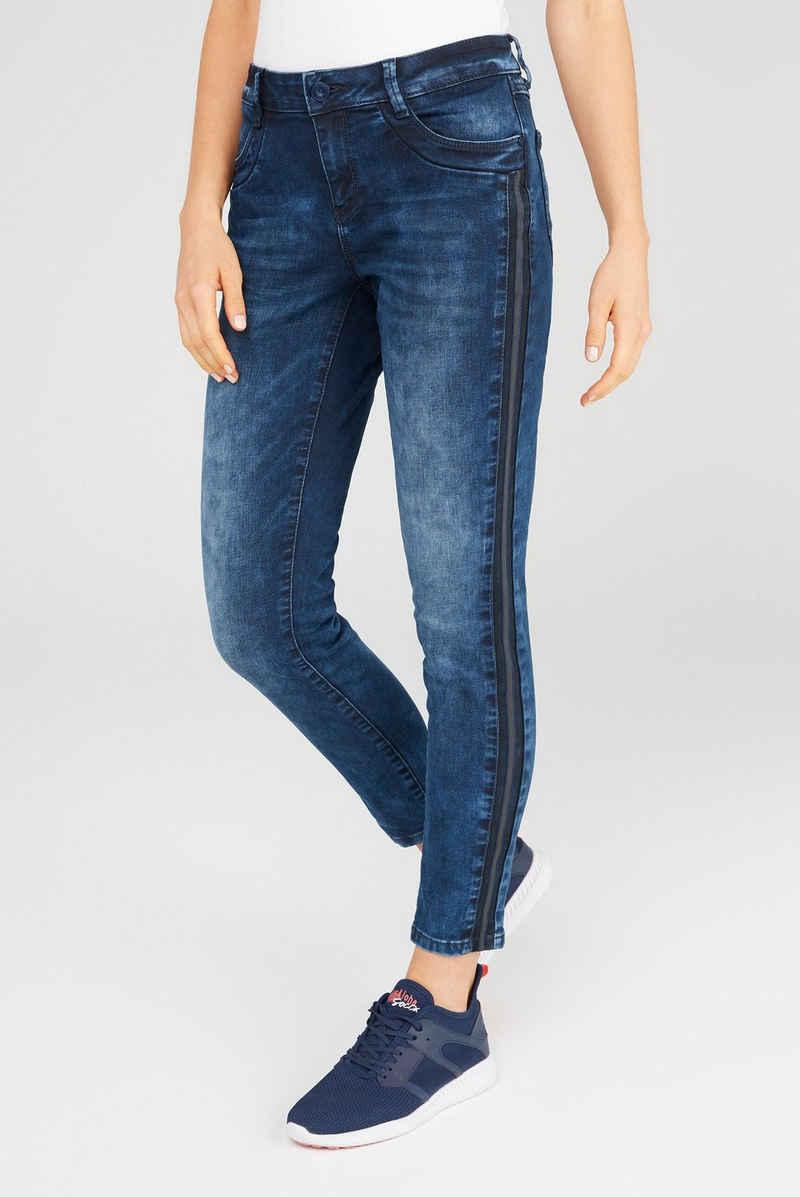 SOCCX Regular-fit-Jeans mit Streifen-Tapes an den Seiten