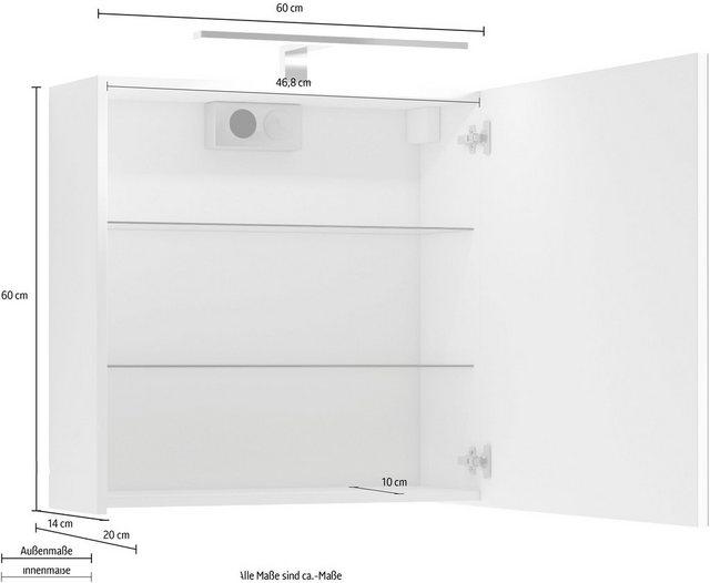 Spiegel - Homexperts Spiegelschrank »Salsa« Breite 60 cm, mit LED Beleuchtung Schalter Steckdosenbox  - Onlineshop OTTO
