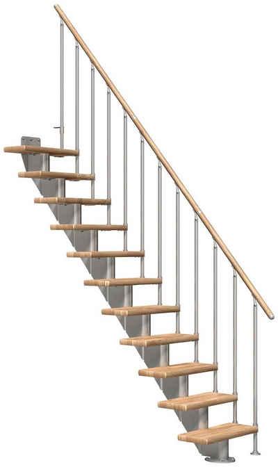 Dolle Mittelholmtreppe »Frankfurt Eiche 75«, für Geschosshöhen bis 258 cm, Stufen offen, Metallgeländer, versch. Ausführungen