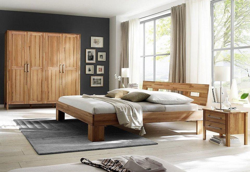 Home affaire, Schlafzimmer-Set (4-tlg.), »Modesty I« mit 4-türigem Schrank, wahlweise mit Spiegel in Kleiderschrank ohne Spiegel