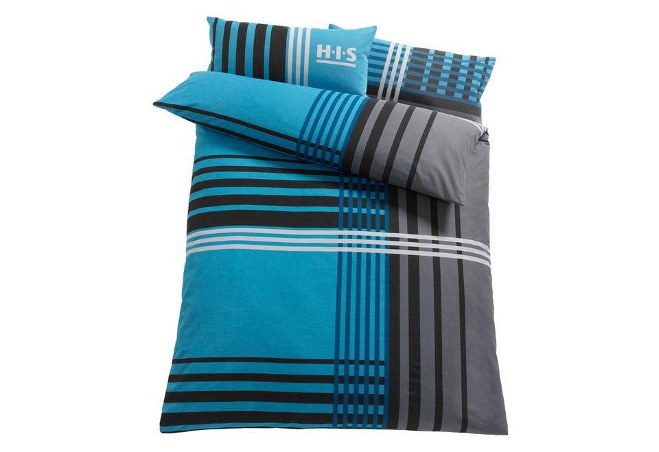 Bettwäsche, H.I.S, »Philip«, mit Streifen in blau