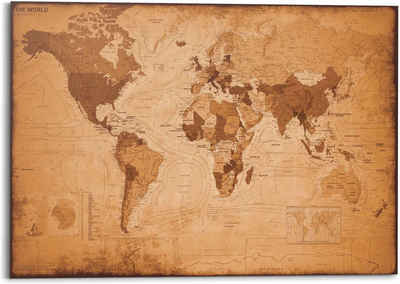 Reinders! Wandbild »Wandbild Weltkarte Vintage - Landkarte - Kontinente«, Weltkarte (1 Stück)