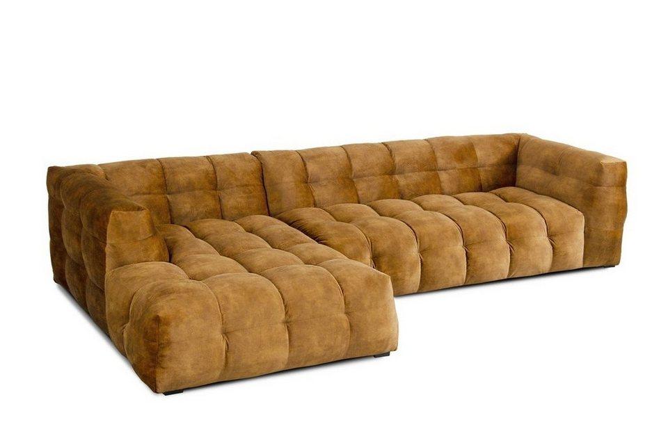 KAWOLA Sofa 3-Sitzer Stoff goldfarben Recamiere links o ...