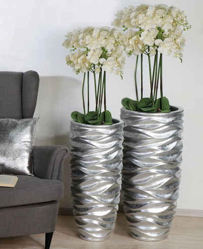 GILDE Pflanzkübel »Waves, silberfarben« (1 Stück), dekorativer Blumentopf, groß, aus Fiberglas, wasserdicht, in 2 Größen erhältlich, Wohnzimmer