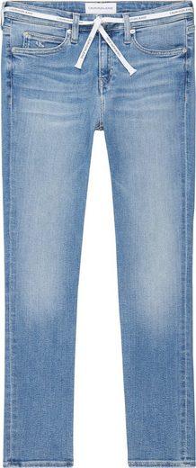 Calvin Klein Jeans Skinny-fit-Jeans »CKJ 011 MID RISE SKINNY ANKLE« mit CalvinKlein Logo-Schriftzug Bindegürtel