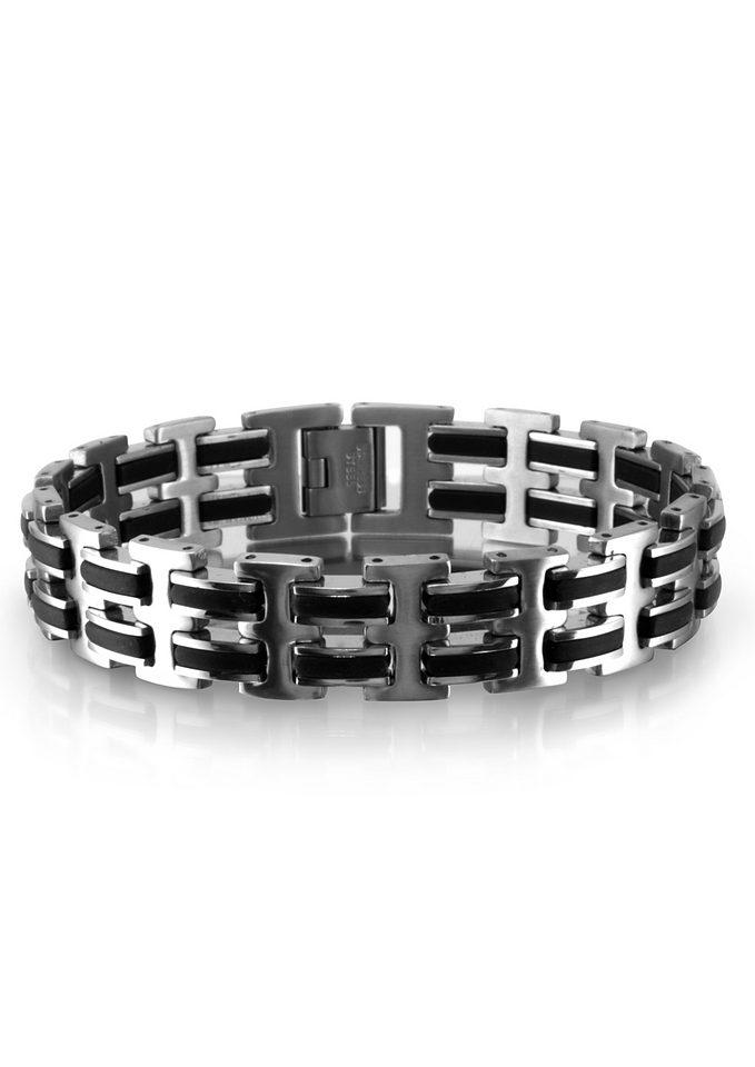 Armschmuck: Armband aus Edelstahl mit Kautschuk