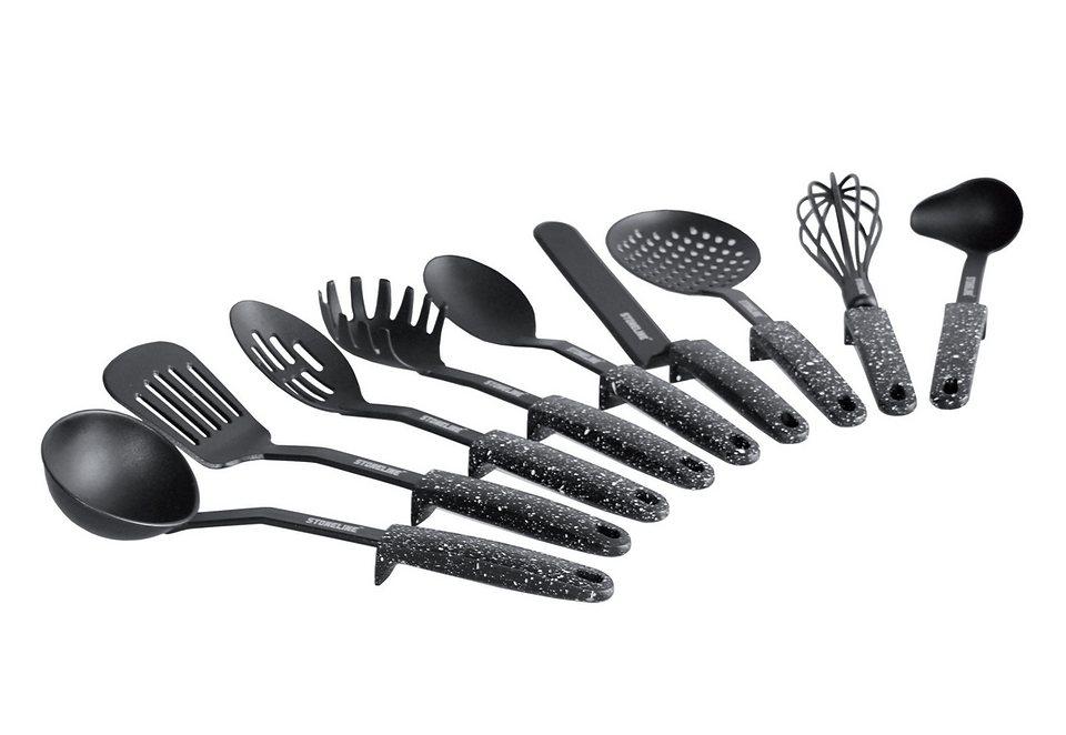 SET: Küchenhelferset mit Stütze, STONELINE® (9tlg.) in schwarz