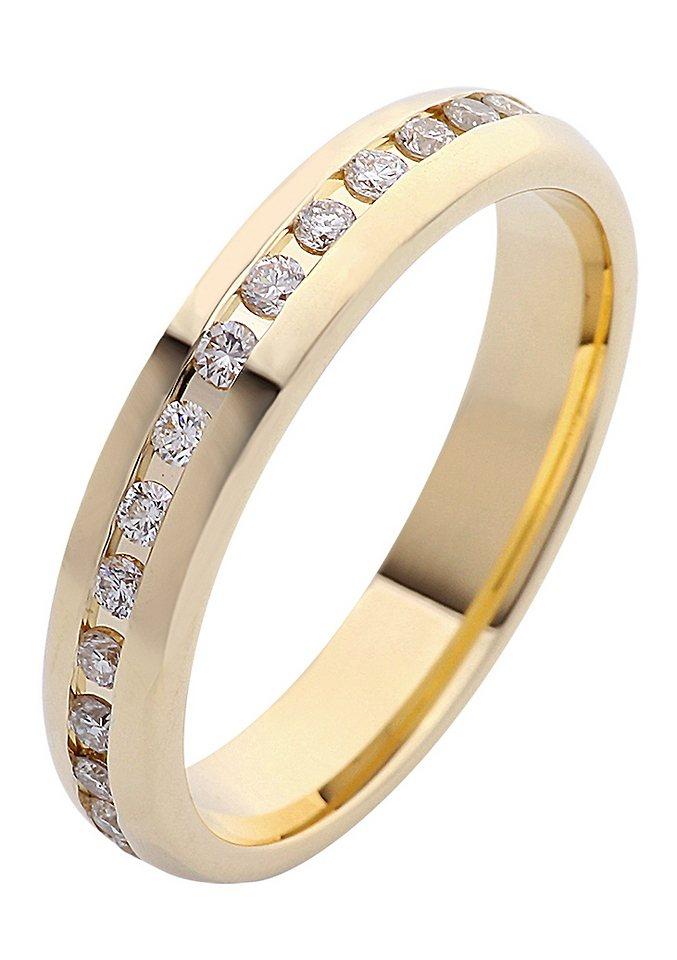 firetti Ring: Memoire mit Diamanten in W/P1, Gelbgold 333