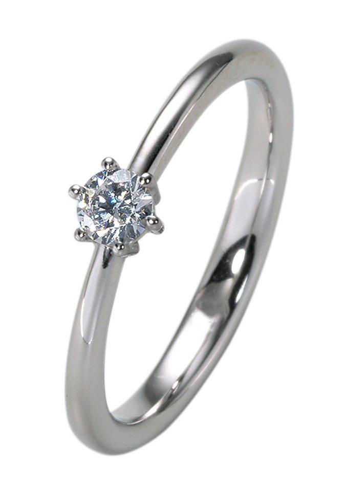 firetti Ring: Vorsteckring / Verlobungsring mit Diamant in 0,10 ct., W/P1, Weißgold 333