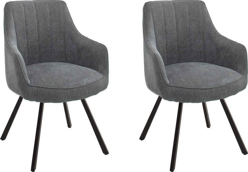 MCA furniture Esszimmerstuhl »Sassello« (Set, 2 Stück), Stuhl 180°drehbar mit Nivellierung, Stoffbezug, mit Taschenfederkern, belastbar bis 120 kg