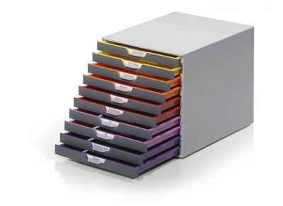 DURABLE Schubladenbox »VARICOLOR«, Durable 761027 Schubladenbox A4 (Varicolor) 10 Fächer, mit Etiketten zur Beschriftung, mehrfarbig