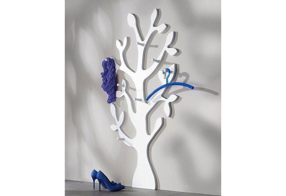 Wandgarderobe »Baum« in weiß