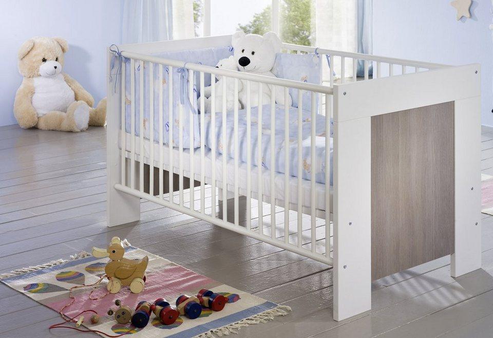Babybett »Janne«, in pinie rustica/ weiß matt in weiß/ pinie rustica