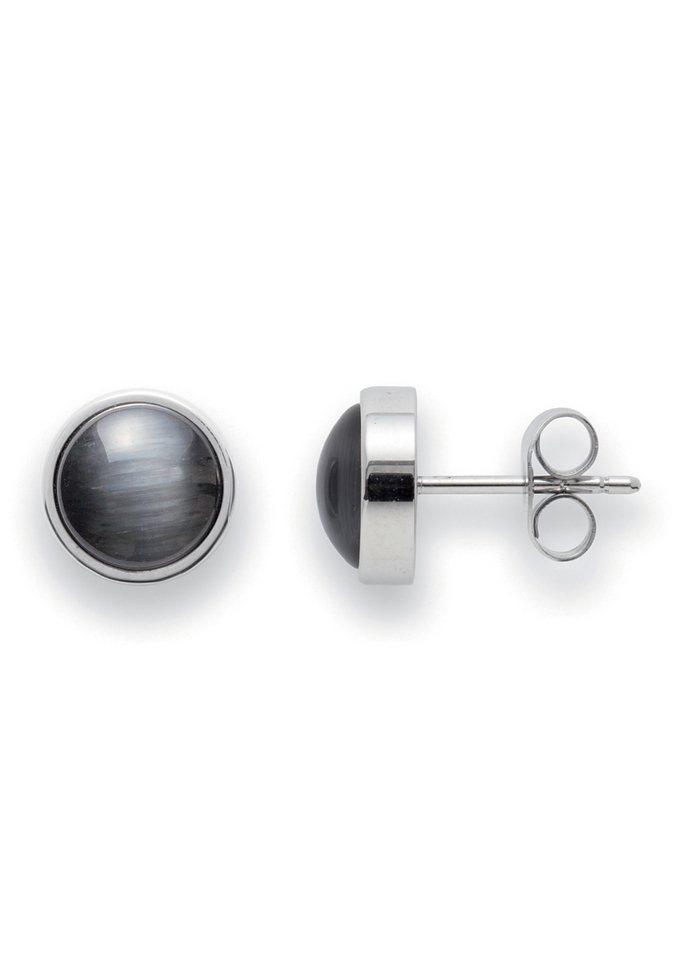 Paar Ohrstecker, Jewels by Leonardo, »Ohrstecker schwarz Joy« in grau