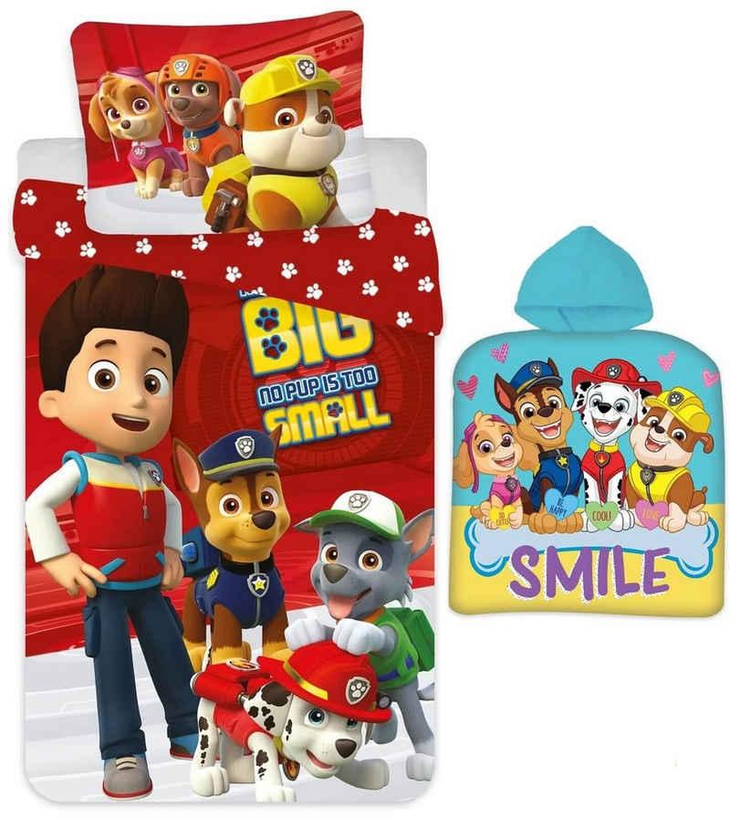Babybettwäsche »PAW Patrol - Baby-Bettwäsche-Set, 100x135 und Poncho, 50x100«, PAW PATROL, 100% Baumwolle