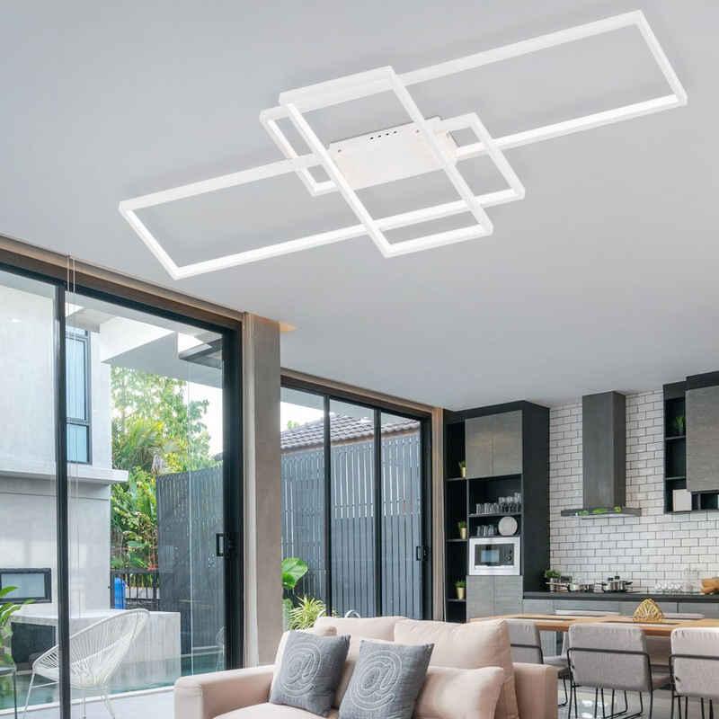 WOFI LED Deckenleuchte, Deckenleuchte LED Designlampe weiß Wohnzimmerleuchte Decke, aus ALU, 1x LED 40 Watt 2600 Lumen warmweiß, LxBxH 104 x 42 x 6,5 cm