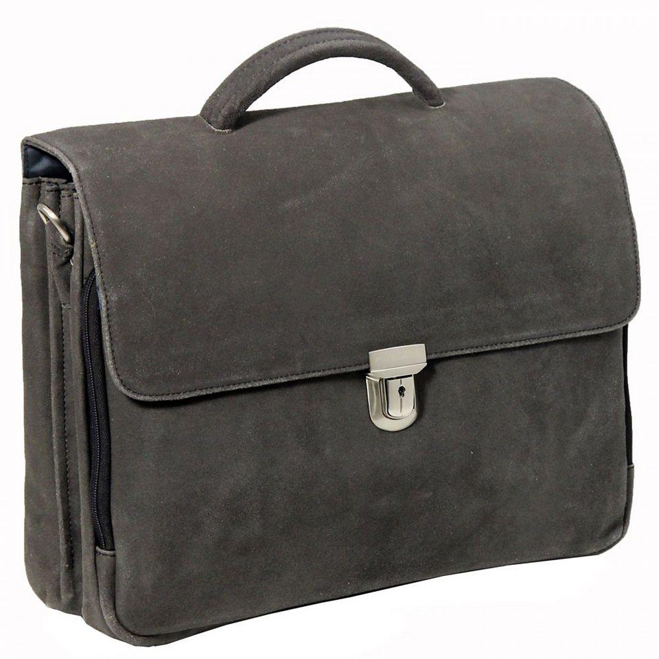 Plevier 30er Serie Aktentasche Leder 3 Fächer 41 cm Laptopfach in schwarz