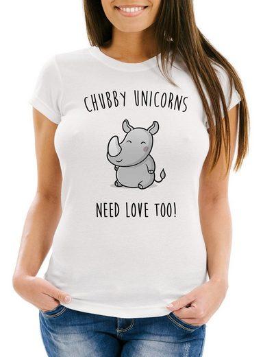 Download MoonWorks Print-Shirt »Damen T-Shirt chubby Unicorns need ...
