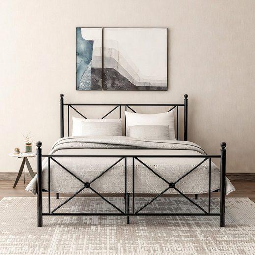 Masbekte Metallbett »Doppelbett«, Bettgestell mit Kopf- und Fußteil, Jugendbett 140*200cm