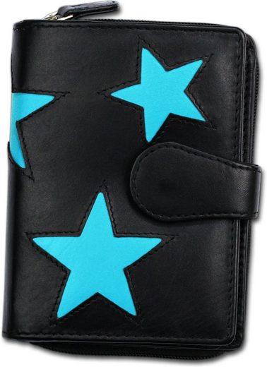 DrachenLeder Geldbörse »OPS600X Portemonnaie Farbwahl DrachenLeder Damen«, Damen, Jugend Geldbörse aus Echtleder in schwarz, türkis, Sterne