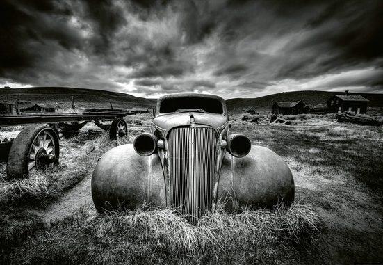 IDEALDECOR Fototapete »Altes klassisches Auto«, BlueBack, 4 Bahnen, 368 x 254 cm