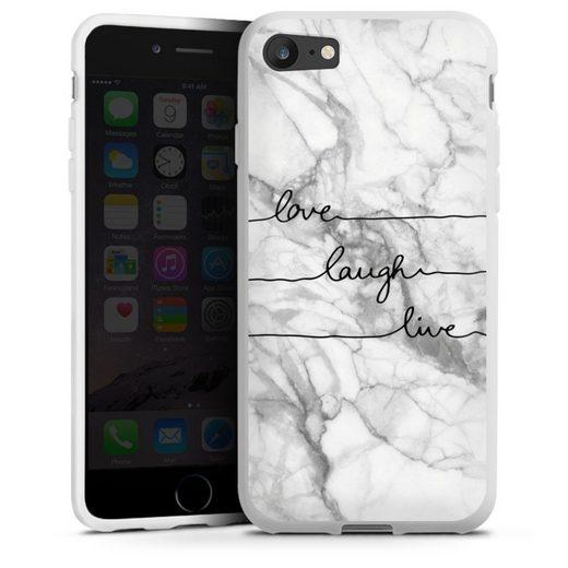 DeinDesign Handyhülle »love, laugh, live Marmor« Apple iPhone 8, Hülle Marmor Sprüche Liebe