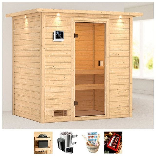 Saunen und Zubehör - KARIBU Sauna »Sunie«, 223x159x191 cm, 3,6 kW Plug Play Ofen, ext. Strg., Dachkranz  - Onlineshop OTTO