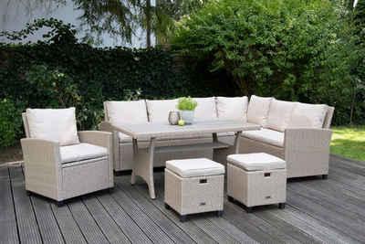 bellavista - Home&Garden® Loungeset »Rattan Ecklounge Madeira von bellavista - Home&Gar«, (Set, 6-tlg), rechts Sofa: 165x65x83cm, links Sofa: 179x65x83cm, Sessel: 67x66x83cm (BxTxH), Tisch: 145x75x67cm, Hocker: 40x39x40cm (aus der Sicht auf dem Sofa sitzend)