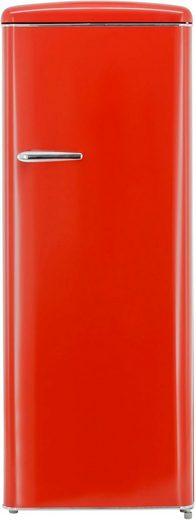 exquisit Kühlschrank RKS325-V-H-160F rot, 144 cm hoch, 55 cm breit