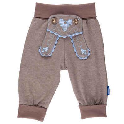 P.Eisenherz Trachtenhose »Babyhose im Lederhosenstil mit hellblauer Stickere« mit elastischem Hosenbund